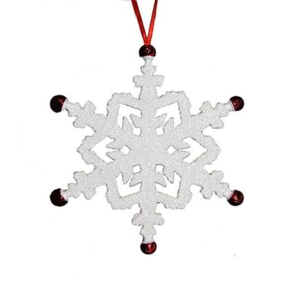 """7"""" White Snowflake with Red Jingle Bells Christmas Ornament"""