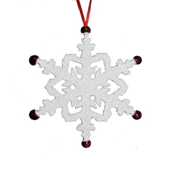 "7"" Retro Christmas White Snowflake with Red Jingle Bells Christmas Ornament"
