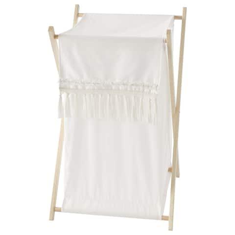 Ivory Neutral Boho Bohemian Collection Laundry Hamper - Solid Cream Off White Farmhouse Chic Minimalist Tassel Fringe Cotton
