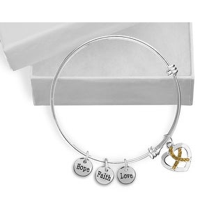 Gold Crystal Ribbon Retractable Charm Bracelet for Causes
