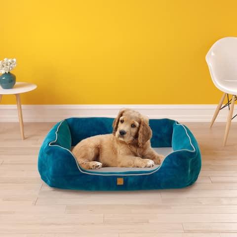 Pup Pup Kitti Heavenly Luxury Pet Mat Orthopedic Dog Bolster Bed Pillow Mattress Cushion, Blue