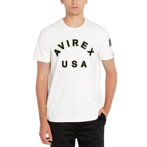 Avirex Mens T-Shirt White Size Large L Graphic Tee USA Embroidered