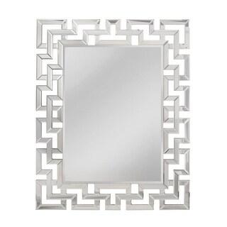 "Mirror Masters MG5472 Greek Key 37"" Rectangular Mirror with Decorative Frame - Silver - N/A"