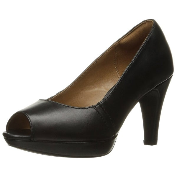 CLARKS Womens Narine Rowe Leather Peep Toe Platform Pumps