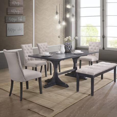 Best Quality Furniture 6-Piece Traditional Dining Set with Bench, Light Grey
