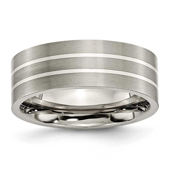 Chisel Sterling Silver Inlaid Flat Brushed Titanium Ring (8.0 mm)