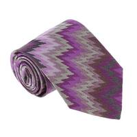 Missoni U4056 Purple/Gray Flame Stitch 100% Silk Tie - 60-3