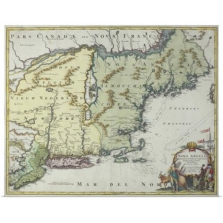 """""""Map of New England , United States"""" Poster Print"""