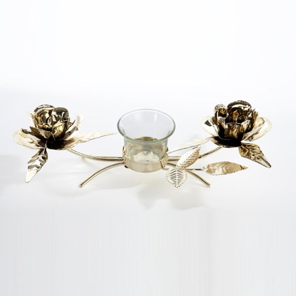 "10.5"" Seasons of Elegance Gold Rose Metal Christmas Candle Holder"