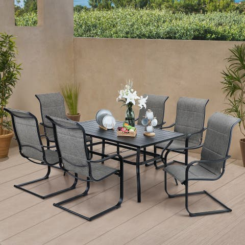 Sophia & William 7-piece /5-piece Patio Dining Set , 6/4 C Spring Motion Chairs and 1 Metal Table with Umbrella Hole