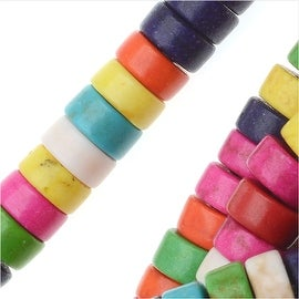 Dyed Magnesite Gemstone Beads, Heishi Cylinders 3x6mm, 16 Inch Strand, Multi Color