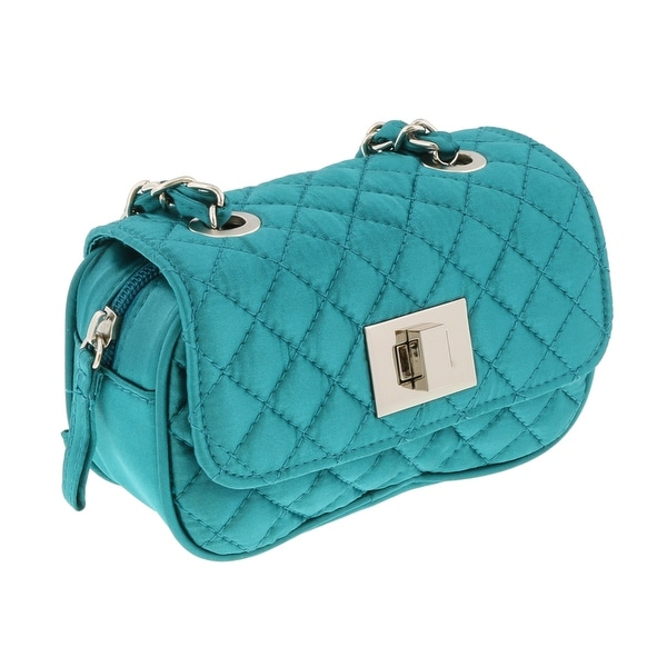 Scheilan Turquoise Satin Quilted Boxy Crossbody Bag