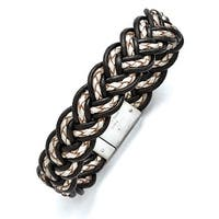 Chisel Stainless Steel Brushed Black and Creme Woven Leather Bracelet
