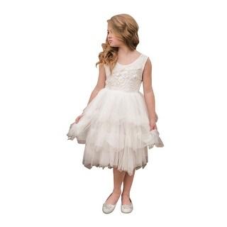 Little Girls White Floral Bodice Tired Skirt Knee Length Flower Girl Dress