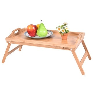 Costway Portable Bamboo Breakfast Bed Tray Serving Laptop Table Folding Leg w/ Handle
