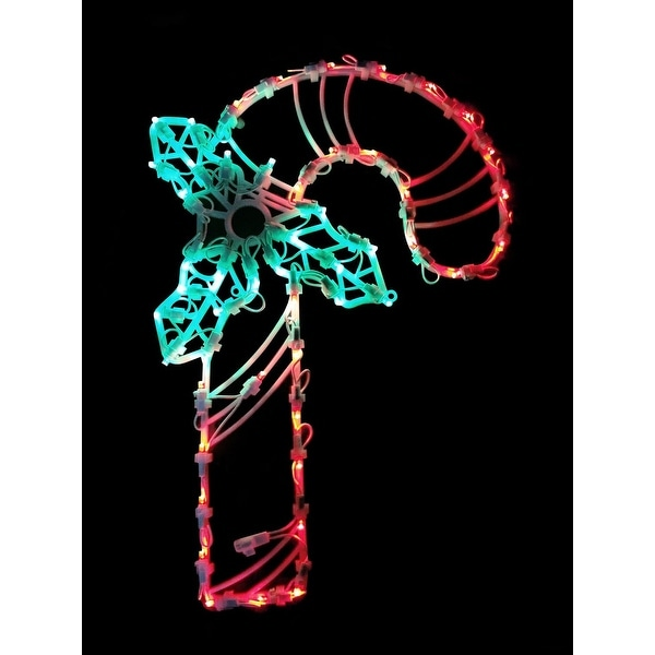 """18"""" LED Lighted Candy Cane Christmas Window Silhouette Decoration - green"""