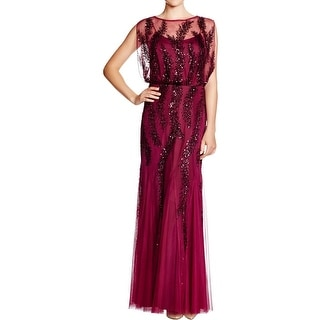 Aidan Mattox Womens Evening Dress Mesh Sequined