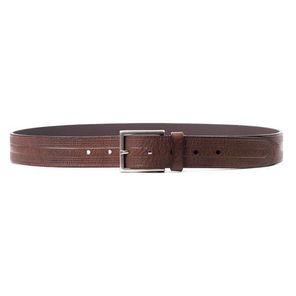 Brunello Cucinelli Brown Leather Wide Design Etched Belt