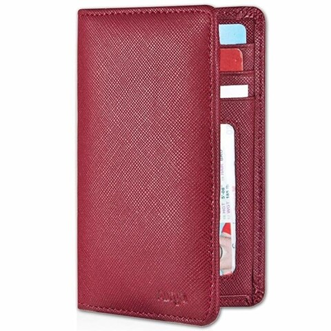 Aurya Men'S Slim Bifold Wallet Id/Credit Card Holder,Full-Grain Genuine Leather,Rfid Blocking And Front Pocket Wallet