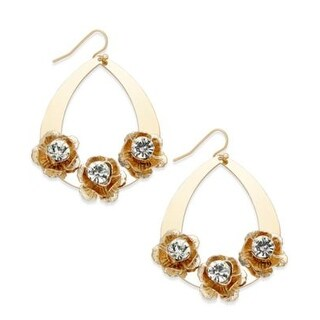 Macys Thalia Sodi Gold-Tone Flower Teardop Earrings - Gold