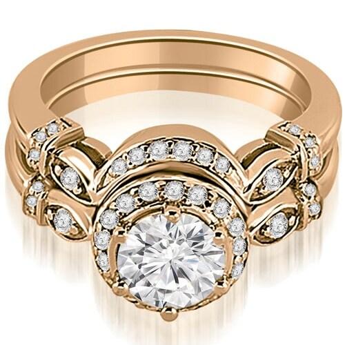 1.27 cttw. 14K Rose Gold Antique Round Cut Diamond Engagement Set