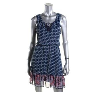 As U Wish Womens Juniors Sleeveless Printed Casual Dress - S