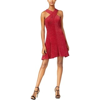 MICHAEL Michael Kors Womens Cocktail Dress Metallic Cross-Front