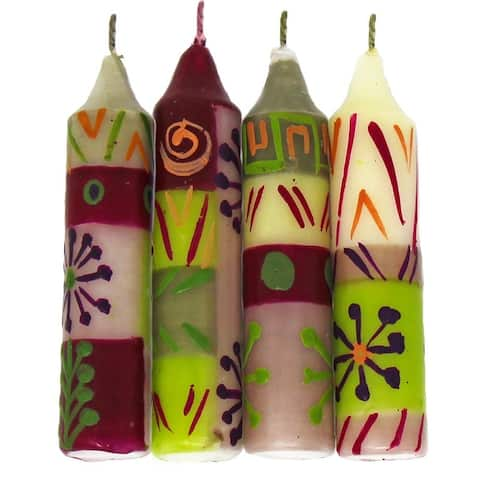 "Hand-Painted Unscented 4"" Dinner or Shabbat Candles, Set of 4 (South Africa)"