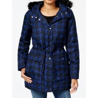 Tommy Hilfiger NEW Blue Womens Size Large L Houndstooth Parka Jacket