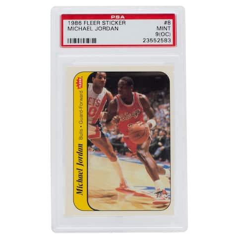 Michael Jordan 1986 Fleer #8 Sticker Rookie Card PSA MT 9(OC)