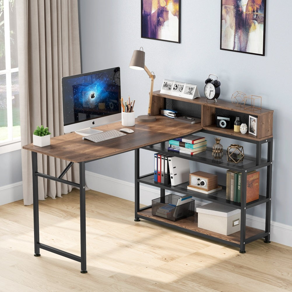 Shop Computer Desk With Hutch And Shelves Rustic Writing Study Table Home Office Desk Workstation For Small Space Overstock 30512267
