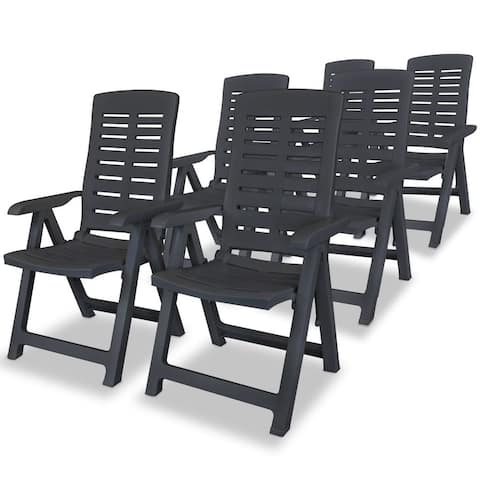 vidaXL Reclining Garden Chairs 6 pcs Plastic Anthracite