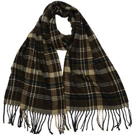 Winter or Fall Cold Weather Irish Plaid Long Cashmere Feel Scarf, Brown