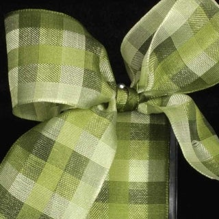"Green Color Plaid Wired Craft Ribbon 1.5"" x 50 Yards"