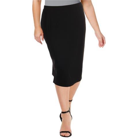 Kasper Womens Split Hem Pencil Skirt, Black, 3X