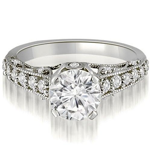 1.50 cttw. 14K White Gold Antique Milgrain Round Cut Diamond Engagement Ring