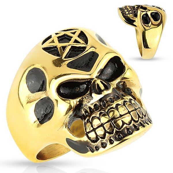 Gold and Black Skull with Star Stainless Steel Ring (Sold Ind.)