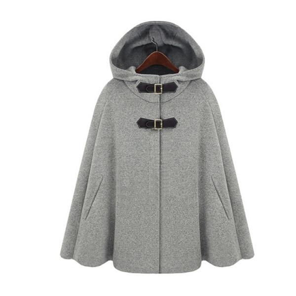 Women Wool Cape Coat Hooded Double Breasted Warm Coat. Opens flyout.