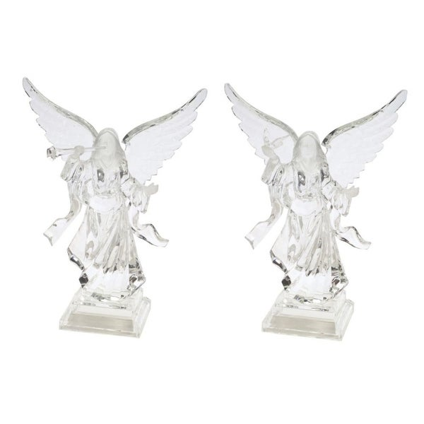 """Pack of 2 of an Assortment of 2 Clear Acrylic Christmas Angels 9.5"""""""