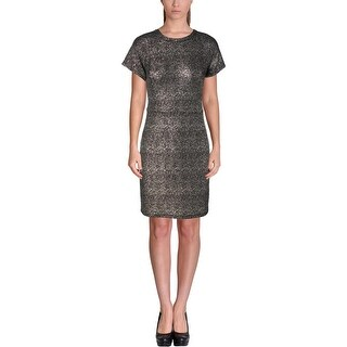 Aqua Womens Metallic Sheath Casual Dress