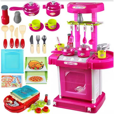 Title: Kid's Kitchen Utensils Set Play House, Changable Combination Kitchen Ware,imitate cooking,Perfect Gift - Pink