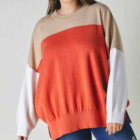 Women Plus Round Neck Multicolored Oversized Red Sweater