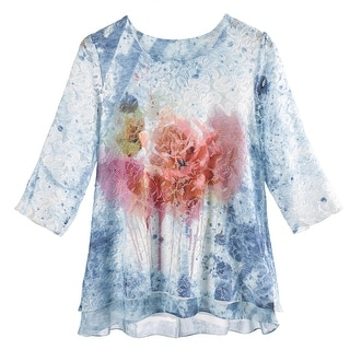 Women's Tunic Top - Gardens Of Lace 3/4 Sleeve Long Blouse