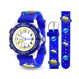 Astronaut Flying Saucer Space Ship Waterproof Wrist Watch Time Teacher Quartz Cartoon Blue Silicone Wristband Round Dial