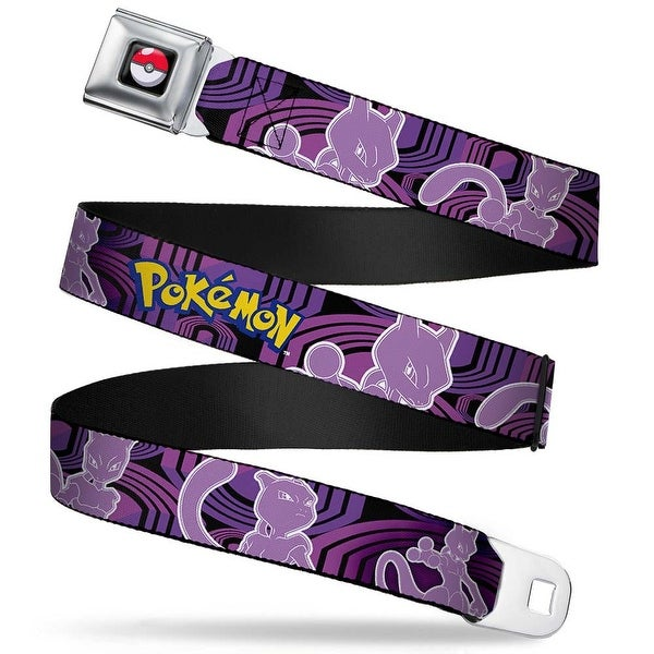 Pok Ball Full Color Black Pokmon Mewtwo Poses Black Purples Webbing Seatbelt Belt