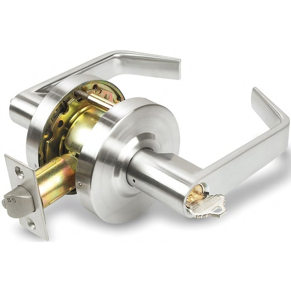 INOX BL0780 BL Series Single Cylinder Keyed Entry Storeroom Door Lever Set with 07 Lever and Round Rose - Satin Chrome
