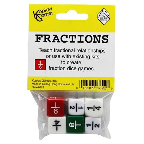 Koplow games (12 ea) fraction dice set of 6 11692bn