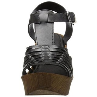 Kenneth Cole Reaction Womens Capellini Leather Strappy Wedge Sandals - 10 medium (b,m)