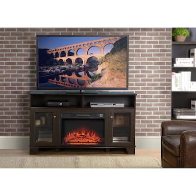 Wilson Oak Finish TV Stand With Electric Fireplace
