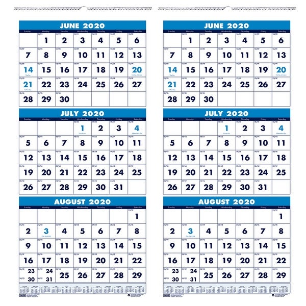 "Vertical Academic 3-Month Wall Calendar, June-July, 8"" x 17"", Pack of 2 - One Size. Opens flyout."